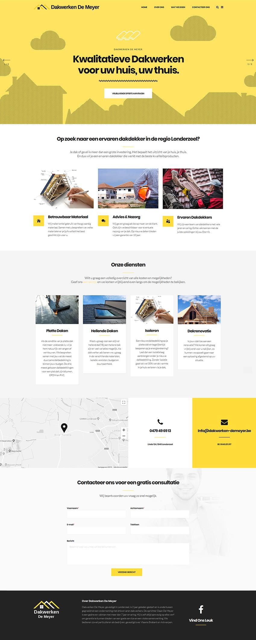 website dakwerken-demeyer.be volledige home-pagina