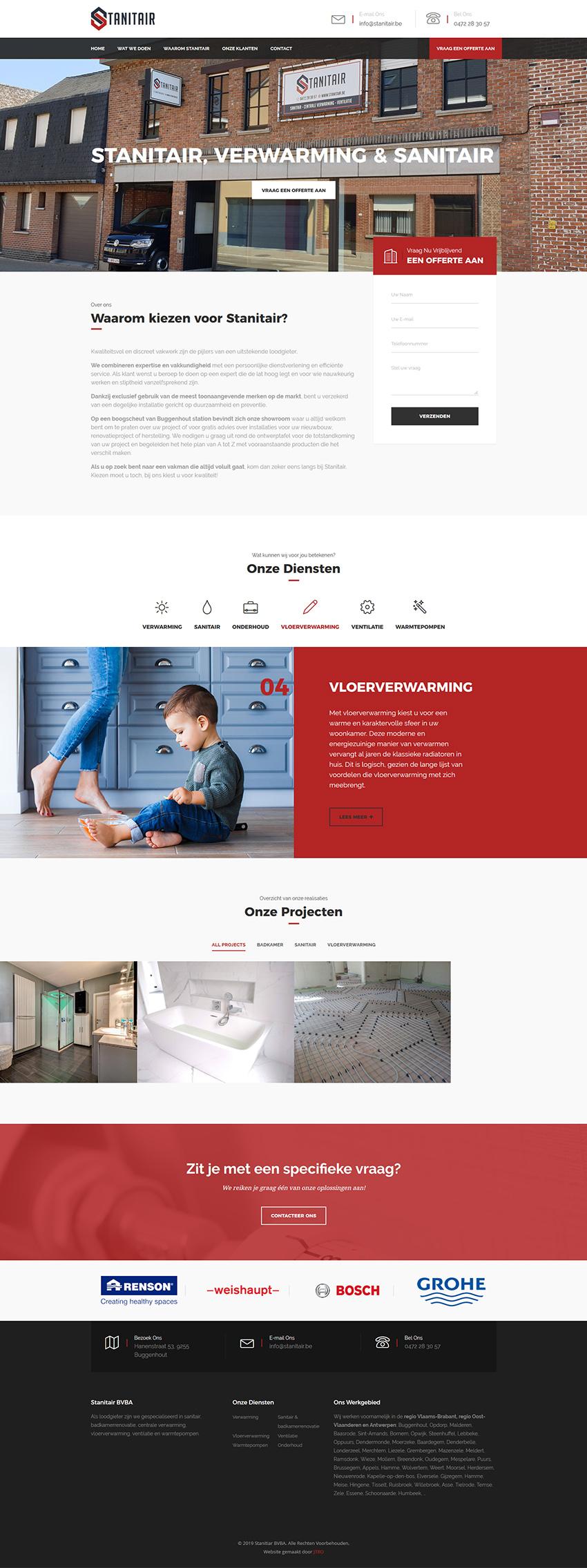 website stanitair preview van volledige home-pagina